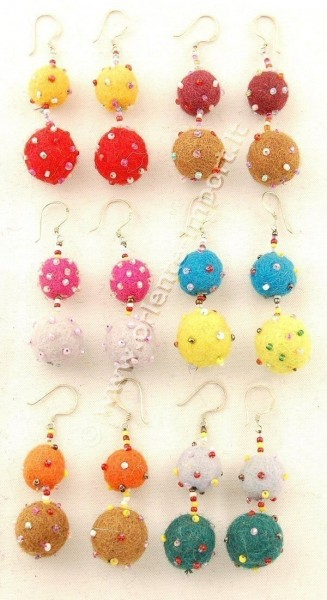 BOILED WOOL EARRINGS LC-OR07 - Oriente Import S.r.l.