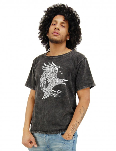MEN'S COTTON T-SHIRT - STONEWASHED WITH PRINT AB-NPM02-43 - Oriente Import S.r.l.